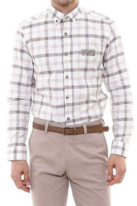 Embroidery Slim Fit checkered chest embroidery beige slim fit shirt