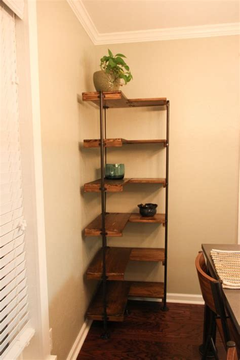 Free Standing Corner Shelf by A Rustic Industrial Free Standing Corner Shelf Set