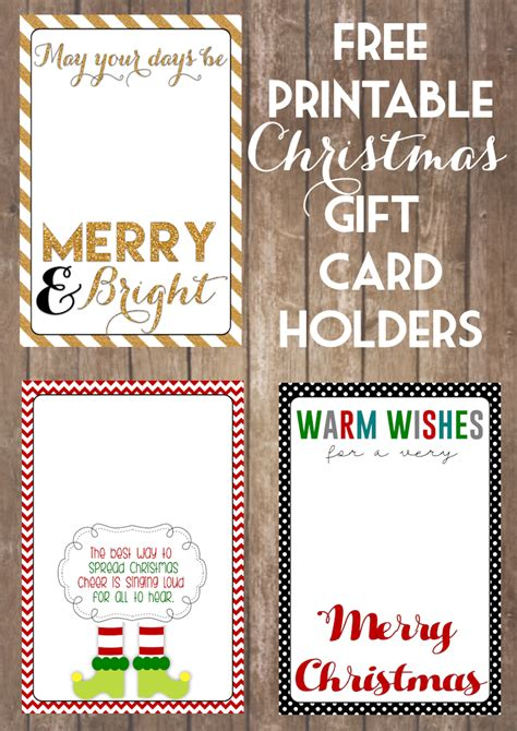 printable christmas gift card holders  girl creative