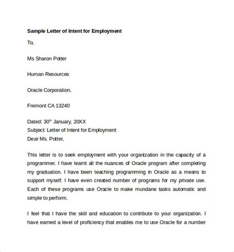 Letter Of Intent For Work Exle sle letter of intent for employment templates 7 free documents in pdf word