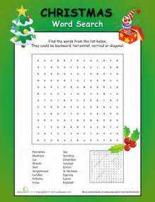 christmas fun word search worksheet education com