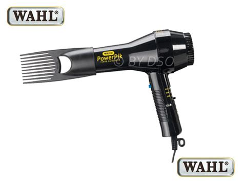 wahl powerpik hair dryer with afro pik 1250w black zx052