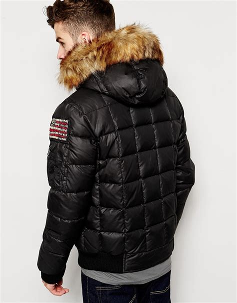 True religion Quilted Jacket With Faux Fur Hood in Black