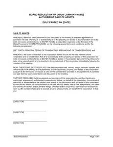 Board Resolution Template Singapore by Board Resolution Approving Sale Of Assets Template