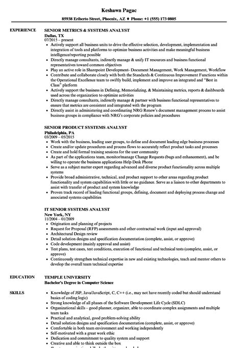 Sle Resume Senior System Analyst systems senior analyst resume sles velvet
