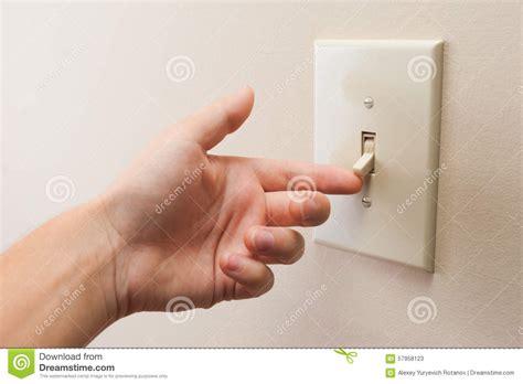 turn on light switch turning wall light switch stock image image