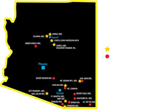 arizona observatories map about azac arizona astronomy consortium