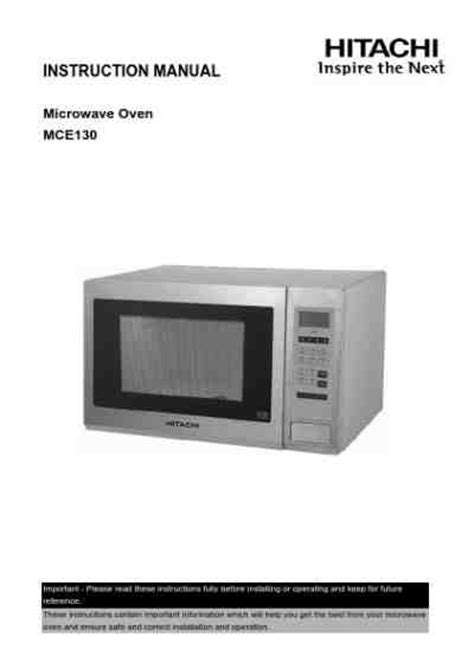 Microwave Hitachi hitachi mce130 microwave oven manual for free now