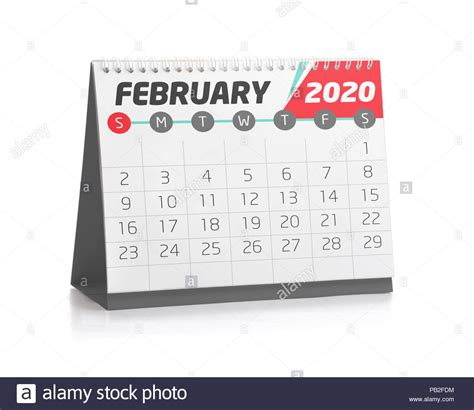 february white office calendar  isolated  white stock photo  alamy