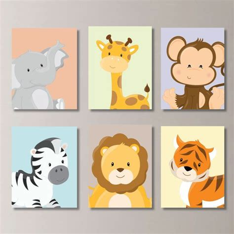 Baby Nursery Print Art Animal Nursery Decor Jungle Zoo Animal Nursery Decor