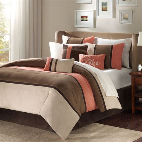beige and coral bedroom beautiful brown coral taupe leaf beige modern 7pc