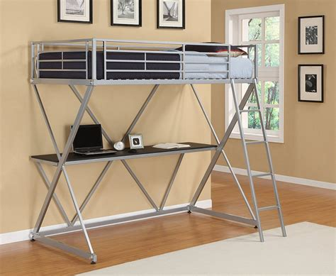 Metal Loft Bed With Desk Laluz Nyc Home Design Metal Frame Loft Bed With Desk
