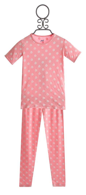 kickee pajamas sleeve in pink polka dot