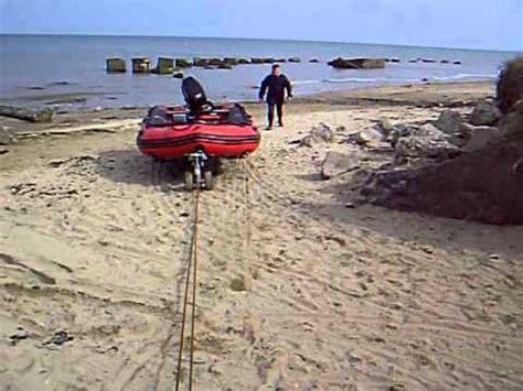 boat launch winch testing wakeskate petrol winch pulling boat through soft