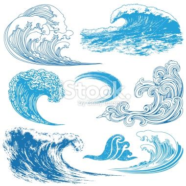drawing a vector wave collection of waves in different techniques be the