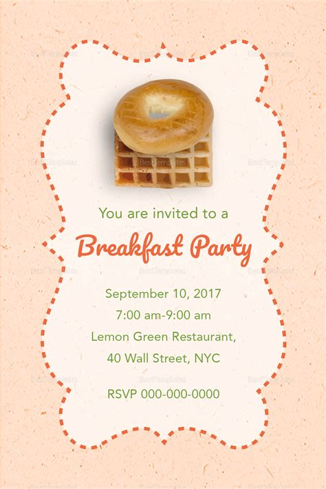 Rose Pink Breakfast Party Invitation Design Template In Psd Word Publisher Illustrator Indesign Birthday Brunch Invitation Template