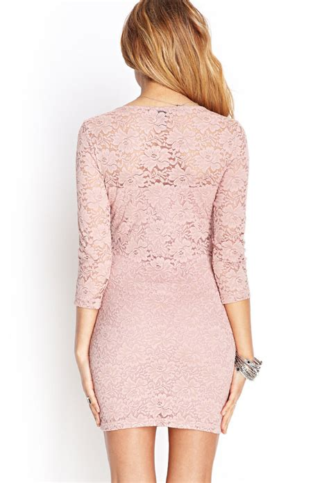 Pink Lace Dress 30580 lyst forever 21 floral lace sheath dress in pink