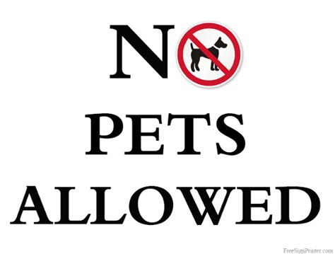 no dogs allowed sign printable no pets allowed sign