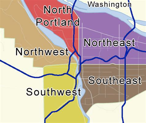 washington dc map nw ne sw se portland oregon maps