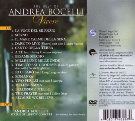 the best of andrea bocelli andrea bocelli album 171 the best of andrea bocelli vivere