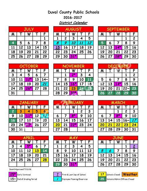 School District Calendar 2016 Duval County School Calendar Monthly Calendar 2017