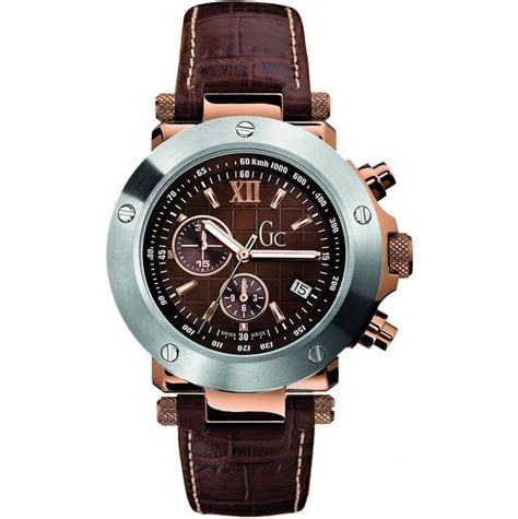 Gc 23006 Rosegold Brown Leather mens gc gc 1 sport i45003g1 buy gc mens watches