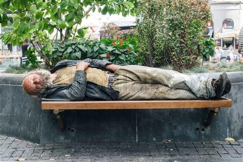 homeless man on bench belgrade serbia august 10 2015 unidentified serbian