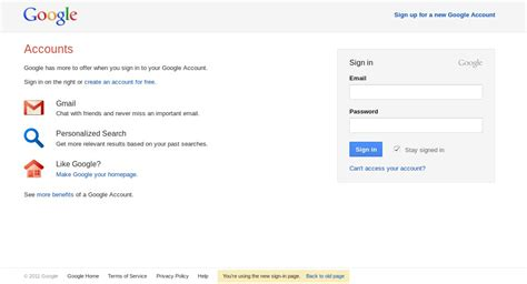 testing a new login page for gmail and accounts
