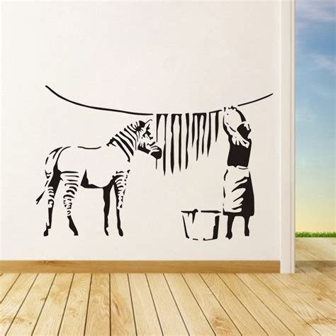 large vinyl wall stickers banksy graffiti washed zebra stripes large vinyl wall