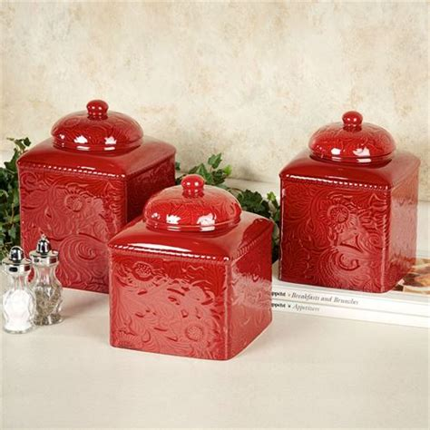 Kitchen Canister Sets Red | savannah red kitchen canister set