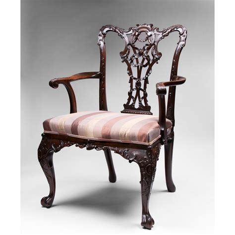 armchairs furniture 19th c mahogany ribbon carved chippendale armchair sold