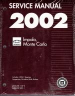 2002 monte carlo ls service and repair manual download manuals a 2002 chevrolet impala and monte carlo service manual