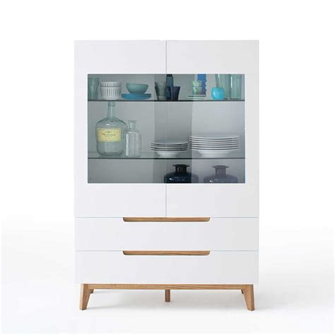 esszimmer highboard in wei 223 eiche massiv glas highboard - Esszimmer Sideboard