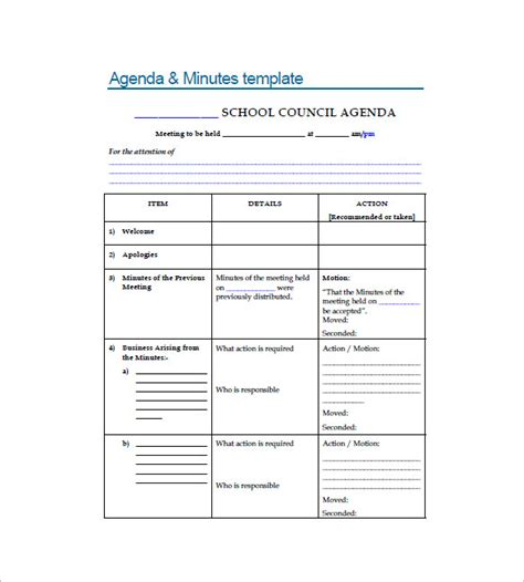 templates for minutes of meetings and agendas doc 1159744 templates for minutes of meetings and