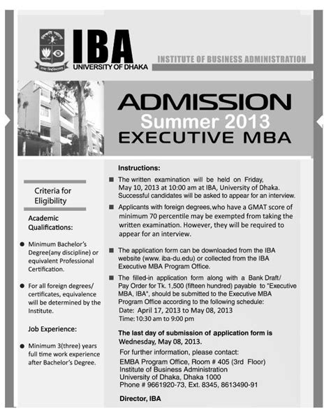 East West Mba Admission Test Sle Question by Iba Mba Admission Circular Summer 2013 Dhaka