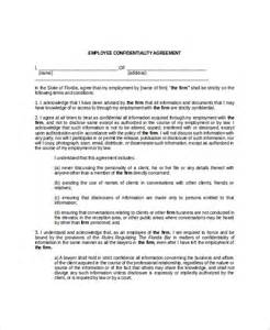 confidentiality agreements templates 9 employee confidentiality agreement templates free