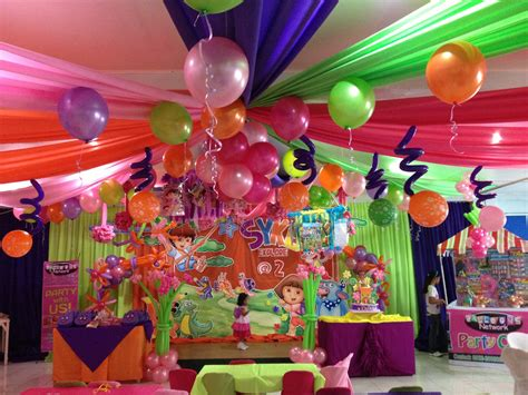 theme decoration dora theme party event decor pinterest