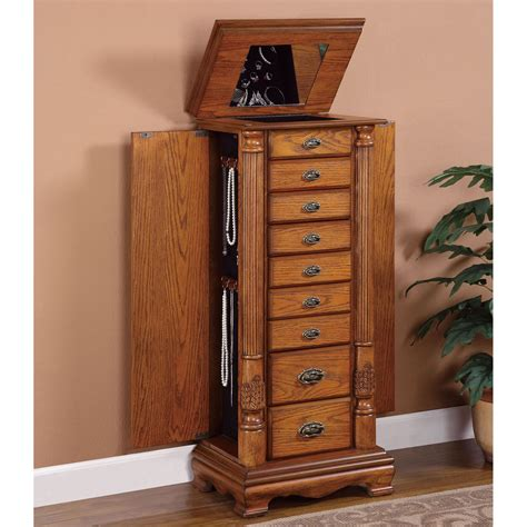 oak jewelry armoire mirror heritage jewelry armoire cheval mirror oak walmart with