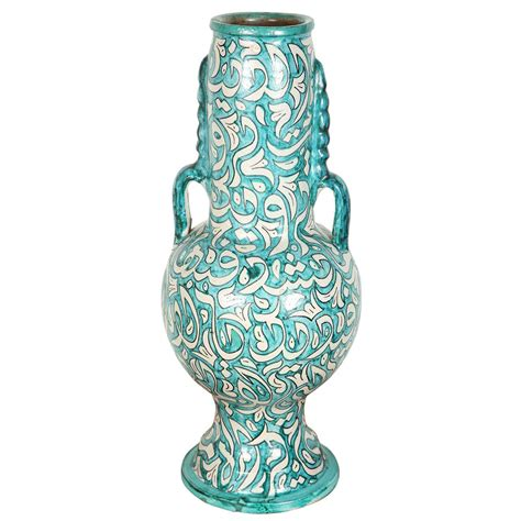 Moroccan Vase large handcrafted moroccan ceramic vase from fez at 1stdibs
