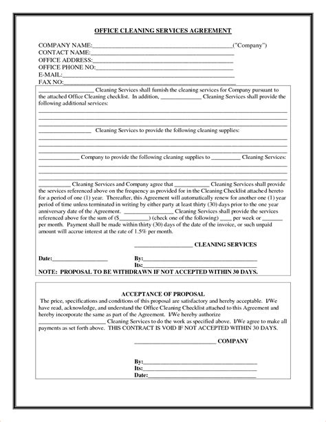 clean agreement template 8 cleaning contract templatereport template document