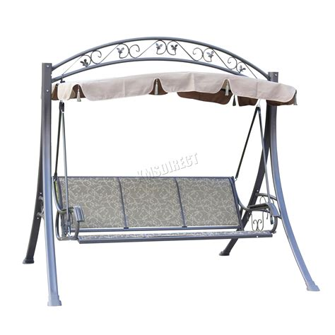 metal swing bench foxhunter garden metal swing hammock 3 seater chair bench