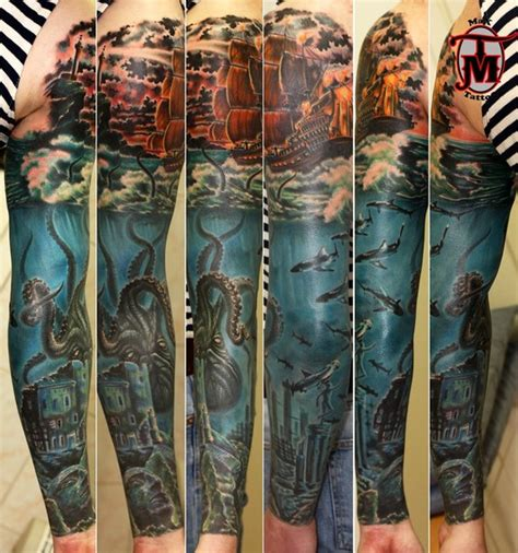 kraken sunken city tattoo sleeve best tattoo ideas gallery