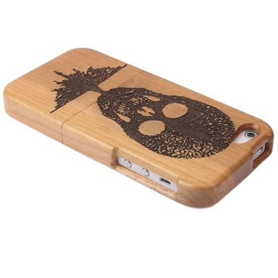 Casing Iphone 5s Bamboo skull woodcarving pattern detachable bamboo material