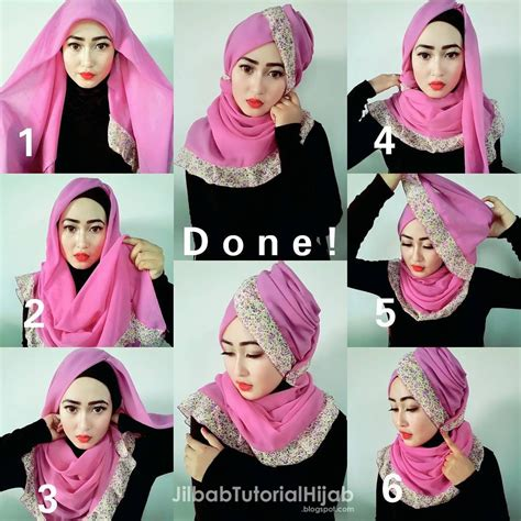 Model Jilbab Segi Empat Tutorial Turban Pesta Www Imgkid The Image
