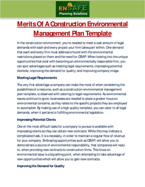 construction environmental management plan template merits of a construction environmental management plan