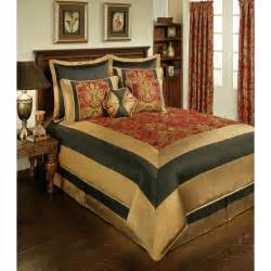 8pc red black gold framed floral jacquard comforter set