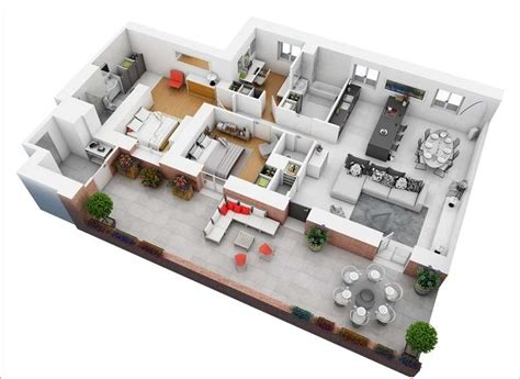 10 awesome two bedroom apartment 3d floor plans 10 awesome two bedroom apartment 3d floor plans