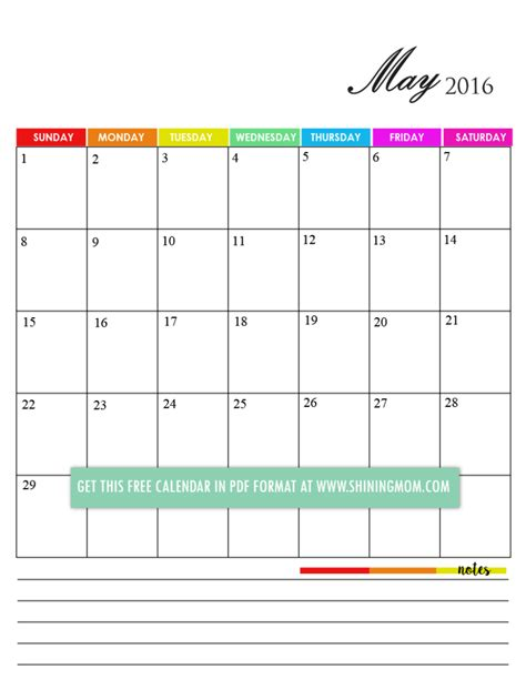 printable calendar with notes 12 free printable calendars for may 2016