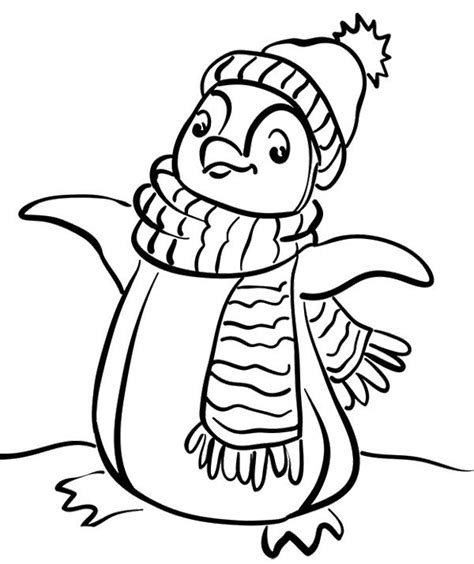 P For Penguin Coloring Page by Penguin Wear A Scarf Coloring Page Penguin Coloring