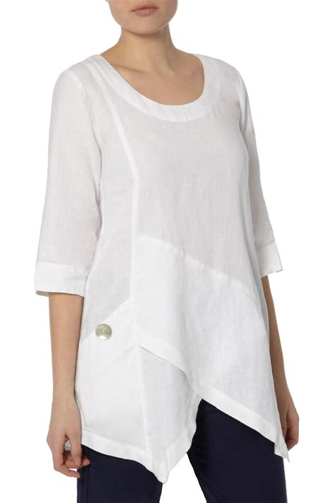 pattern shirt fashion tops ana asymmetric linen tunic at sahara take apart